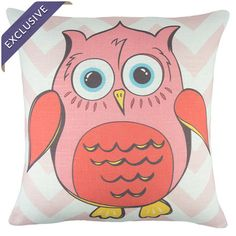 Linen-blend pillow with owl and chevron design. Handmade in the USA.   Product: PillowConstruction Material: Line...