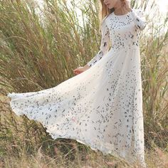 Bohemia Thousand Birds Pattern O Neck Long Sleeve High Waist Slim Swing Women A Line Floor Length Dress 2017 Spring Q16 11 32-in Dresses from Women's Clothing & Accessories on Aliexpress.com | Alibaba Group