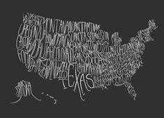 By popular demand, the Typographic Map of the US print is now available in a fun sized version! Half the size, twice the awesome. United States Map, 50 States, Us Map, Looks Cool, Typography Design, Typography Inspiration, Typography Fonts, The Unit, Graphic Design