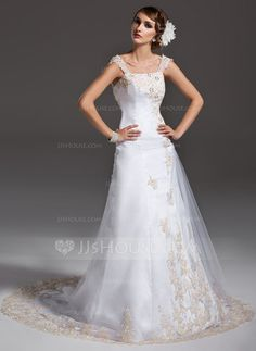 Wedding Dresses - $219.99 - A-Line/Princess Off-the-Shoulder Court Train Satin Tulle Wedding Dress With Ruffle Lace Beading (002000091) http://jjshouse.com/A-Line-Princess-Off-The-Shoulder-Court-Train-Satin-Tulle-Wedding-Dress-With-Ruffle-Lace-Beading-002000091-g91