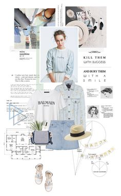 """""""Happy birthday!"""" by sarahstardom ❤ liked on Polyvore featuring Alexander Wang, AG Adriano Goldschmied, Allstate Floral, River Island and Maison Michel"""