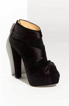 Charlotte Olympia Satin Knot Suede Ankle Boot   Nordstrom - StyleSays