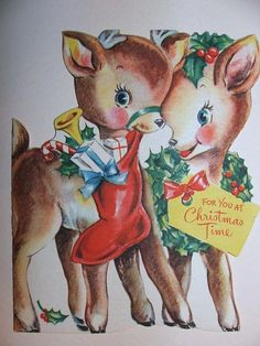 vintage reindeer card in the WorthPoint Worthopedia Price Guide, page 6 of 287 Christmas Deer, Very Merry Christmas, Christmas Ornaments, Vintage Christmas Images, Vintage Images, Vintage Birthday, Vintage Greeting Cards, Flower Art, Reindeer