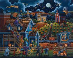 Halloween Art: Halloween Trick or treaters - Dowdle Folk Art