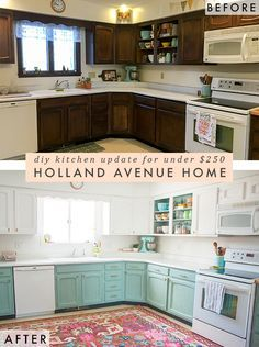 Before & After: A Bright, Affordable DIY Kitchen Update I've waited a long time to write this post, and am thrilled to finally share about our DIY kitchen remodel! My husband and I live in a 1910 craftsman style parsonage in small town Iowa. Best Kitchen Cabinets, Painting Kitchen Cabinets, Diy Cabinets, White Cabinets, Turquoise Kitchen Cabinets, Upper Cabinets, Open Cabinet Kitchen, Annie Sloan Kitchen Cabinets, Colored Kitchen Cabinets
