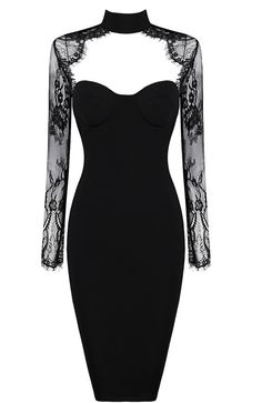 Sexy and sweet little black dress with sweetheart bust line and floral lace detailing. Made of cotton lace, rayon, nylon and spandex.