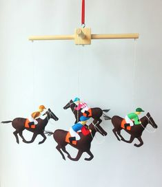 Crib mobile nursery animal mobile Horse felt mobile Nursery decor Baby girl mobile Boy crib mobile  You can order any color,just email me!  The size of a horse with a rider 5.5 x 4.5 inches Overal dimensions of Wood mobile hangers 10.6 inch(27 cm) The toy is sewn of felt.The jacket I paint with special paint for fabric.The paint is not washed off.  Hang mobile best on the center of the bed. Doctors ophthalmologists recommend to place toys so that the child looked straight and slightly…