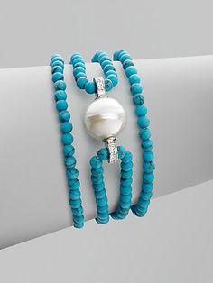 Majorica - 14MM Baroque Pearl & Sterling Silver Bracelet/Turquoise - Saks.com