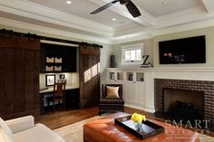 Contemporary Craftsman Style Custom Home  • Family Room • Sliding Barn Doors • Fireplace • Computer Desk • SMART Builders, Inc.
