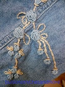 BULLION STITCHES AND MORE: REVIVE AN OLD PAIR OF JEANS - SEW BULLION STITCH ROSES