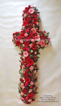 Stunning Loose Cross created in Reds and Pinks for a very special person . let Design Element Flowers create your special tribute for the person you love. Call on 0161 775 7039 or go to www.designelementflowers.com Funeral Tributes, Sympathy Flowers, Funeral Flowers, Special Person, Handmade Design, Floral Designs, Red And Pink, Create Yourself, Bloom
