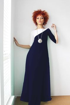 Navy Blue and White 3/4 Sleeve Maxi Dress by Dimiloc on Etsy