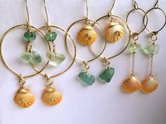 Hawaiian Sunrise Shell Jewelry Earrings 14K gold Filled wire wrapped Hoops Hammered.