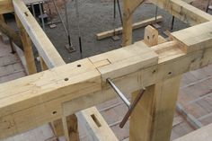 Wallplate scarf and cog awaiting tie beam #timberframe #carpentry #oak: