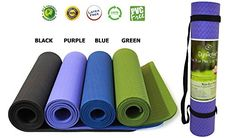 Yoga Mat by DynActive 14 7mm Thick Premium Non Slip EcoFriendly with Carry Strap 100 TPE Material The Latest Technology in Yoga High Density Memory Foam Non Toxic Latex Free PVC Free * You can find out more details at the link of the image.