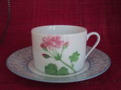 breakfast cup and saucer, geranium hand painted flower, Limoges porcelain
