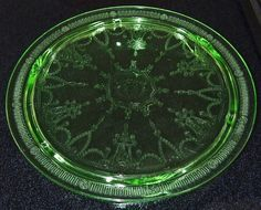 Vintage 1930s Green Depression Glass Footed by TreasuresPast4U