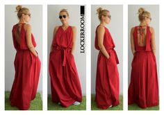 Maxi dress / Red Long Dress / Red Oversize dress/ Woman Red dress / Open back dress by ClothesByLockerRoom on Etsy