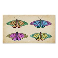 "Four Inked Butterflies Poster - This poster features a hand-drawn butterfly duplicated and colored in four different color schemes arranged on top of weathered old paper with a ""Fig. 1"" subtitle."