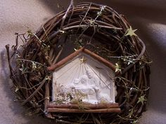 ©Michele Emerson-Roberts 2015 This is one of my favorite Christmas wreaths created this year.  Paper thats handmade of Jesus in the manger is so beautiful. It looks embossed.