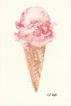 Original Watercolor Pink Ice Cream Cone Painting by Elise Engh: