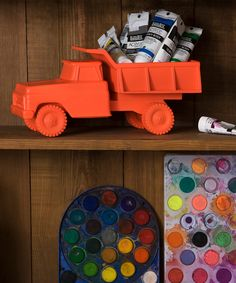 Orange Truck Bowl, fun storage art for kids art supplies
