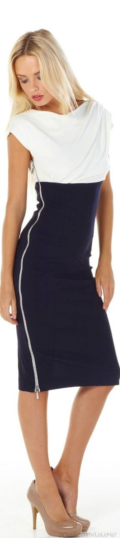 Navy zip dress with white bodice.
