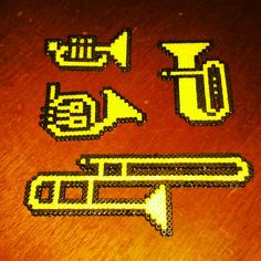 Musical instruments with hama beads, perler beads, bead sprites, nabbi fuse melty beads by Rosi Pixels Melty Bead Patterns, Pearler Bead Patterns, Perler Patterns, Beading Patterns, Block Patterns, Trombone, 3d Perler Bead, Peler Beads, Fusion Beads
