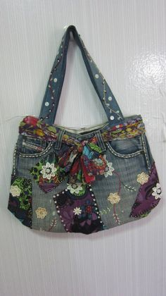 Unique Denim bag  Rainbow  by DIYThaiStyle on Etsy, $39.90