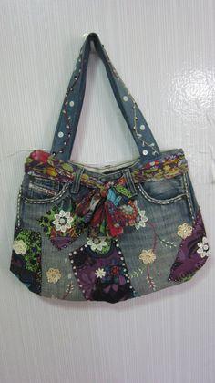 Unique Denim bag  Rainbow  by DIYThaiStyle on Etsy, $39.90
