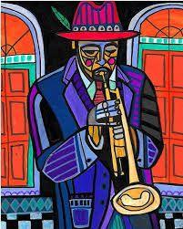 Resultado de imagen de pinturas de musicos con saxofon
