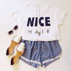 White Short Sleeve NICE Print Loose T-Shirt