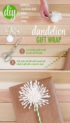 Dandelion Gift Wrap | DIY Gift Wrapping Ideas | Exciting Gift Wrapping Ideas this Holiday Season, see more at http://diyready.com/diy-gift-wrapping-ideas-exciting-gift-wrapping-ideas-this-holiday-season
