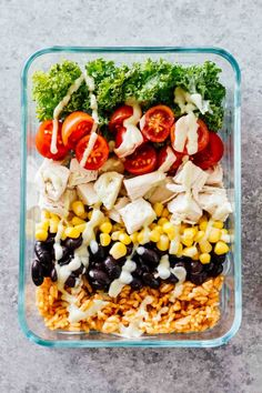 Meal Prep Southwest Chicken Burrito Bowls! Gluten free and great for taking on-the-go!