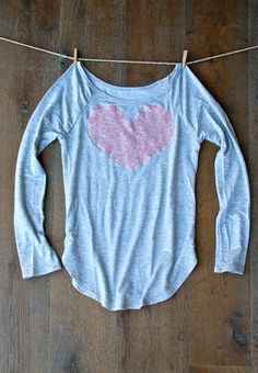 Sequin Heart Patch Dazzle Patch Slouchy Pullover by ICaughtTheSun