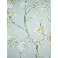 Nostell Priory Wallpaper A floral wallpaper printed with flowing branches with an abundance of flowers and foliage on a pale blue background. Blue Floral Wallpaper, Floral Pattern Wallpaper, Accent Wallpaper, Botanical Wallpaper, Luxury Wallpaper, Print Wallpaper, Flower Wallpaper, Designer Wallpaper, Wallpaper Designs