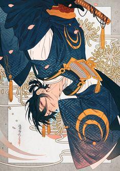 Manga Art, Manga Anime, Anime Art, Anime Guys, Character Concept, Character Art, Touken Ranbu Mikazuki, Estilo Anime, Handsome Anime