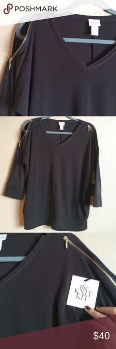 Chico's NWT Knit Kit Cold Shoulder V-Neck Blouse Chico's NWT Knit Kit Cold Shoulder V-Neck Blouse in Brown with gold zippers. Can be zipped or unzipped for that cold shoulder look. 3/4 length sleeves Polyester Spandex blend Bustline 24 inches length 25 1/2 inches Chico's  Tops Blouses
