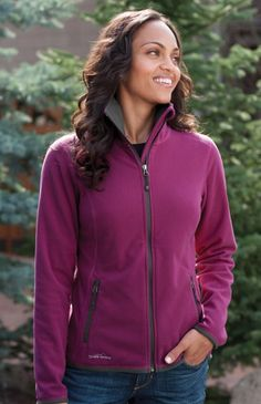 1f15bfc6 Eddie Bauer EB223 Full Zip Vertical Fleece Jacket (Ladies) Eddie Bauer,  Zipper,