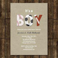 Sports Boy Baby Shower Invitation Digital by JanetteChiuDesign, $12.00