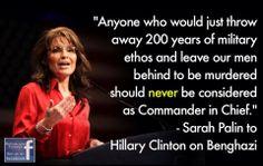 Sarah Palin to Hillary Clinton #Benghazi
