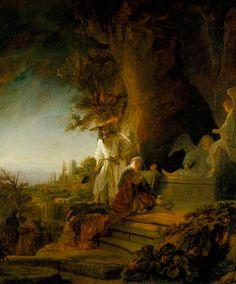 #Rembrandt, #Christ apparaissant à Marie Madeleine sous les traits d'un jardinier, 1638, huile sur panneau de bois, Royal Collection, Royaume-Uni