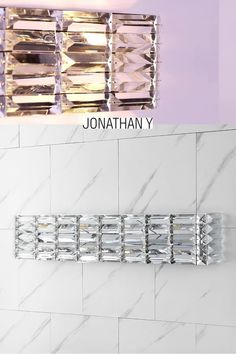 Crystal prisms are set like jewels into a long, glamorous vanity light with mid-century flair. Add vintage glam over a sink or vanity, for an Art-Deco-inspired bathroom. A sparking chrome finish makes this light perfect for contemporary bathrooms too. Led Vanity Lights, Vanity Lighting, Bathroom Lighting, Vintage Glam, Dream Bathrooms, Contemporary Bathrooms, Glass Texture, Home Decor Trends, Chrome Finish
