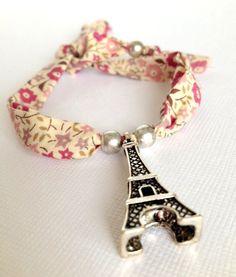 Liberty of London Fabric Children Wrap Bracelet with Eiffel Tower Charm - Chocolatine Boutique
