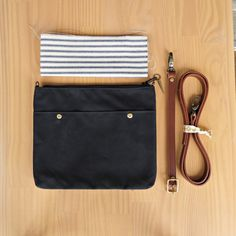 Crossbody Minimalist Waxed Canvas Crossbody Purse in Black, Choose Your Lining Color, Leather Strap, Small Messenger Bag, Cross Body…