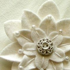 White on White Felt Flower Pin with Vintage White Button and Pearls and Embroidery by MarylinJ