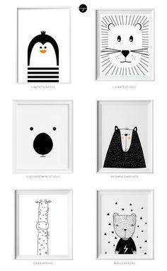 Black and white kids art from Etsy Schwarzweiss-Kinderkunst von Etsy Little flea interiors // kids homewear Nursery Room, Boy Room, Kids Bedroom, Nursery Decor, Nursery Artwork, Baby Bedroom, Bedroom Decor, Nursery Prints, Baby Artwork
