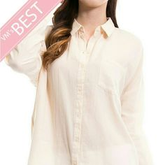 Button down shirt Taupe color,  like ivory, but darker. A must on your summer list, from bikini cover up to the office. Tops Blouses