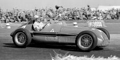 """Emilio Giuseppe """"Nino"""" Farina driving an Alfa Romeo won the 1950 British Grand Prix at the Silverstone Circuit Italian Grand Prix, British Grand Prix, Alfa Romeo, Le Mans, Formula 1, Subaru, Weather Models, Toyota, Audi"""