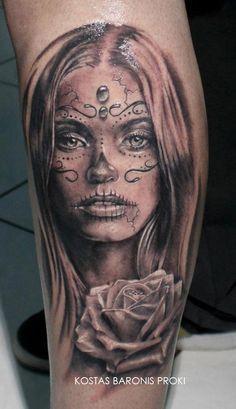 Beautiful santa muerte girl with rose tattoo on leg Tattoo Henna, 3d Tattoos, Great Tattoos, Trendy Tattoos, Tattoo You, Body Art Tattoos, Arabic Tattoos, Neck Tattoos, Dragon Tattoos